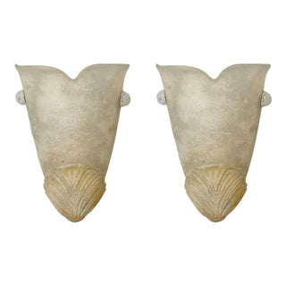 Pair Off-White Urn Shape Murano Glass Wall Sconces For Sale