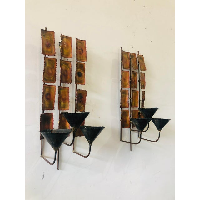 Brutalist 1970s Brutalist Mid Century Wall Sconces-A Pair For Sale - Image 3 of 9