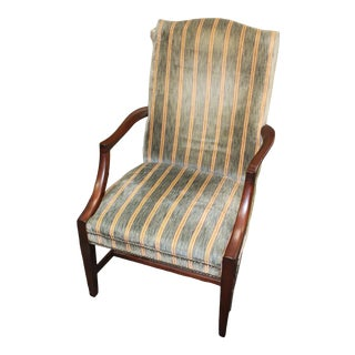 Early 20th Century Striped Upholstered Hepplewhite Chair For Sale