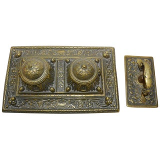 Victorian Bronze English Inkwell Set With Rocking Blotter For Sale