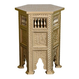 Moroccan Golden Wooden Side Table For Sale