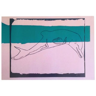 "Andy Warhol Estate Vintage 1991 Rare Collector's Pop Art Lithograph Print "" La Plata River Dolphin - Vanishing Animals "" 1986 For Sale"
