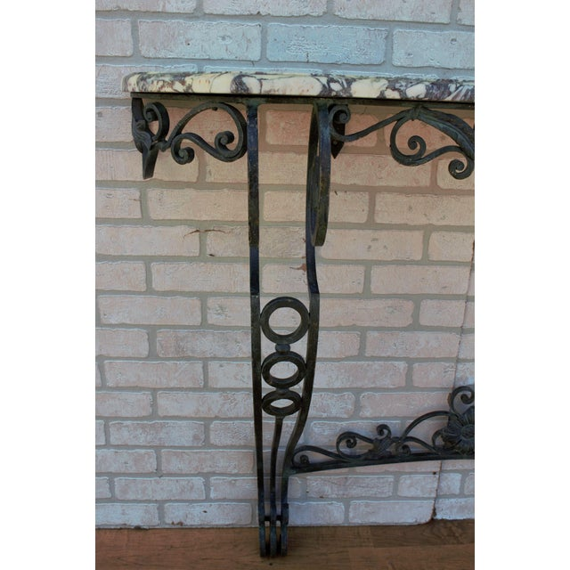 Antique French Victorian Wrought Iron Base Console Table For Sale - Image 11 of 13