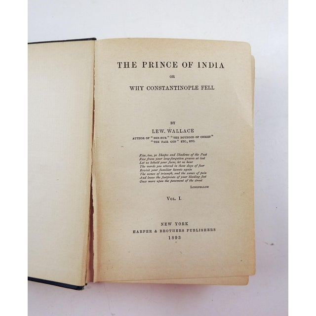 Art Nouveau Prince of India by Lew Wallace 2 Vol. For Sale - Image 3 of 5