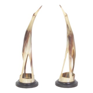 Mid-Century Birds Carved from Steer Horn - A Pair For Sale