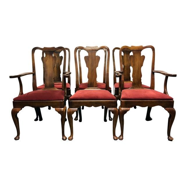 Statton Oxford Antique Cherry Queen Anne Dining Chairs - Set of 6 - Statton Oxford Antique Cherry Queen Anne Dining Chairs - Set Of 6