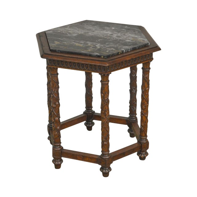 Antique Italian Carved Walnut Hexagon Marble Top Taboret Side Table For Sale