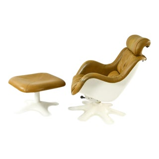Yrjo Kukkapuro Karuselli Chair With Headrest and Ottoman For Sale