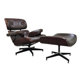Regina Andrew Modern Brown Vintage Leather Barack Lounge Chair and Ottoman in the Style of Charles Eames For Sale