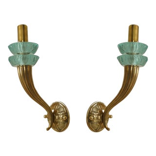 2 Pair Of French Art Deco Brass Single Arm Wall Sconce For Sale