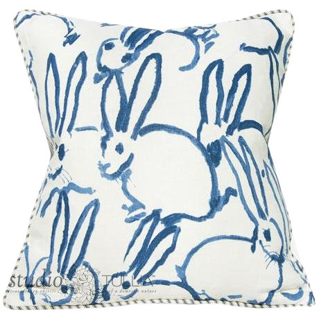 Bunny Fabric Hutch Navy Print Pillow For Sale