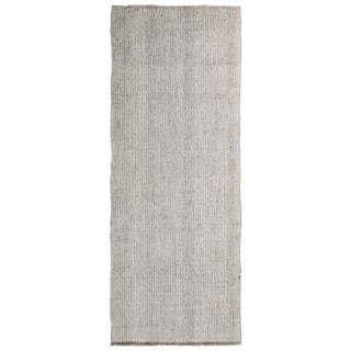 Vintage Turkish Industrial Gray Wool Kilim Runner - 3′8″ × 10′ For Sale