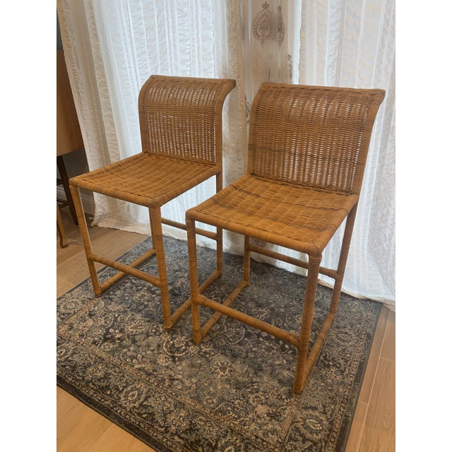 Mid-Century Modern Mid Century Modern Costal Boho Chic Wicker Bar Stools - a Pair For Sale - Image 3 of 13