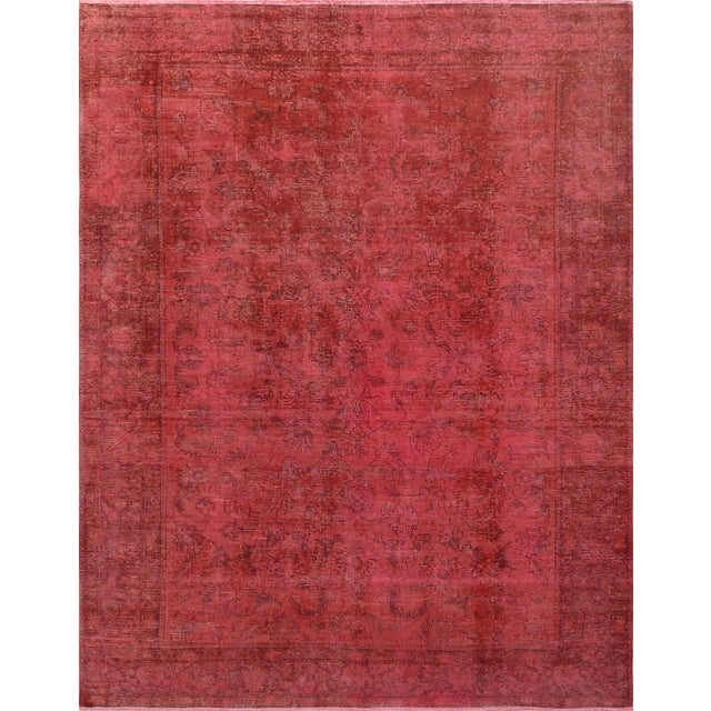 """Pink Vintage Overdyed Rug - 8' 1"""" X 10' 4"""" - Image 1 of 3"""