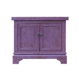 Distressed Purple Lacquer Rough Raw Wood Credenza Console Table Cabinet For Sale