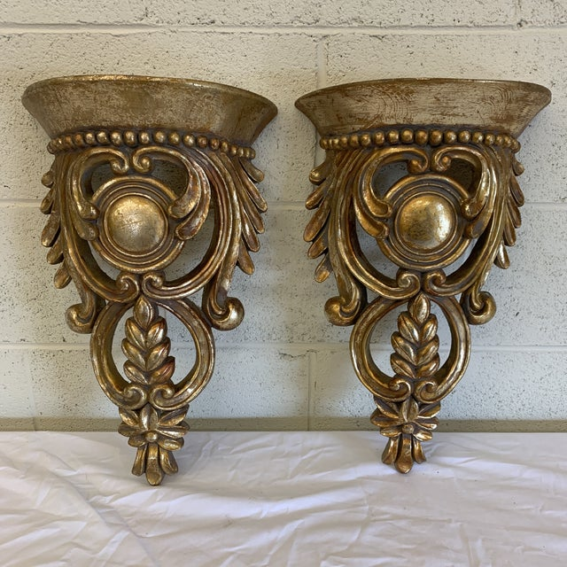 Carved Gilt Wood Wall Brackets -Pair For Sale - Image 12 of 12