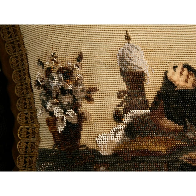 Mid 19th Century c.1880 The Best Antique English Folk Art Hand-Beaded Pillow Ever For Sale - Image 5 of 10