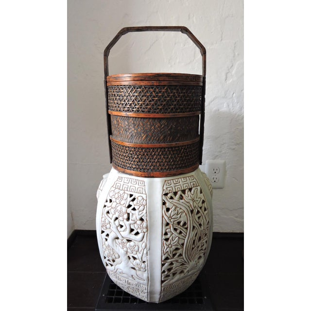 Bamboo Vintage Woven Split Bamboo Carved Chinese Wedding Basket or Container For Sale - Image 7 of 7