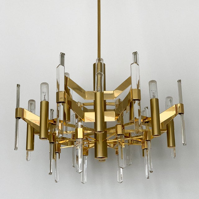 Gold-Plated Brass and Crystal Chandelier by Gaetano Sciolari For Sale - Image 11 of 12