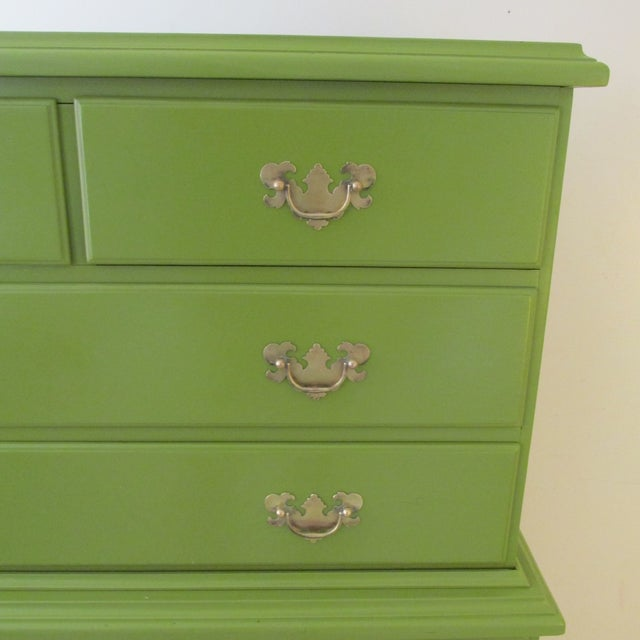 1940s 1940s Painted Green Eight Drawer Chest on Chest Dresser For Sale - Image 5 of 10