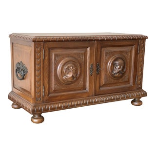 19th Century Spanish Baroque Hand Carved Chest Trunk For Sale