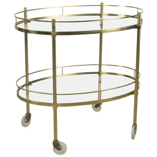 Solid Brass Tea Trolley Attributed to Maxwell Phillips For Sale