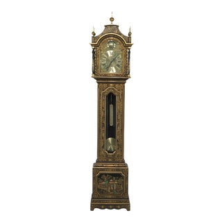 Chinoiserie Decorated Tall Carved Grandfather Clock