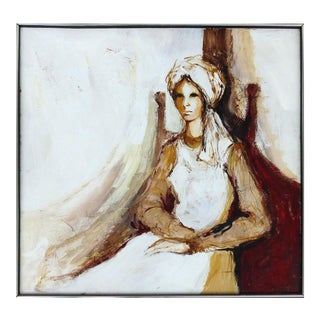 """""""Seated Woman With Head Scarf"""" Oil Painting on Panel Board, Circa 1965 For Sale"""