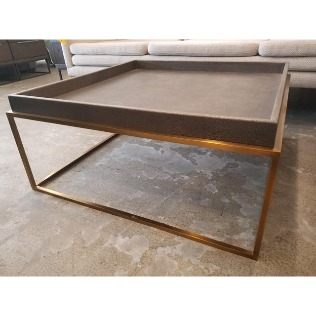 Contemporary Restoration Hardware Shagreen Tray Square Coffee Table For Sale - Image 3 of 6