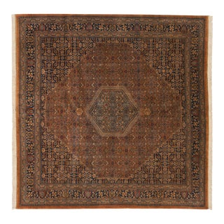 "Vintage Tea Washed Indian Bijar Design Square Carpet - 8'1"" X 8'3"" For Sale"
