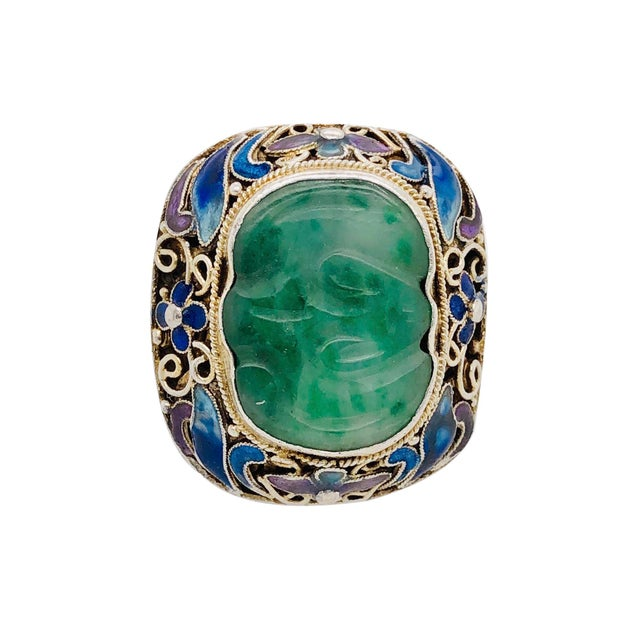 1940s Chinese Silver Jade & Enamel Ring For Sale - Image 5 of 5