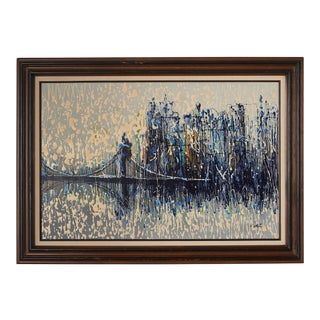Mid 20th Century Brutalist Drip Style Cityscape Painting, Framed For Sale