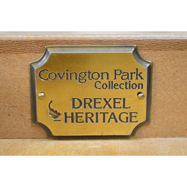 Drexel Heritage Covington Park Collection Regency Style Leather Top Mahogany Writing Desk (A) For Sale - Image 9 of 13