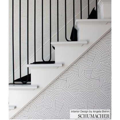 Contemporary Sample - Schumacher Deconstructed Stripe Geometric Wallpaper in Black For Sale - Image 3 of 6