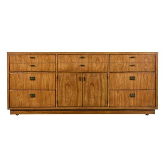 Drexel Heritage Consensus Brass Accent Pecan Dresser, 1970s Campaign Style For Sale