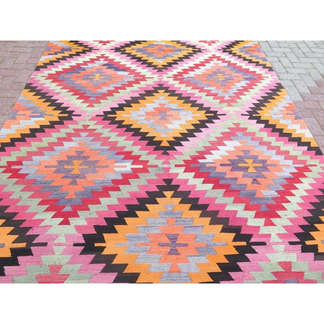 Vintage Turkish Kilim Rug - 6′10″ × 9′10″ For Sale - Image 4 of 8