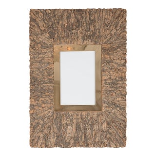 Vintage Monumental Cork and Brass Picture Frame For Sale