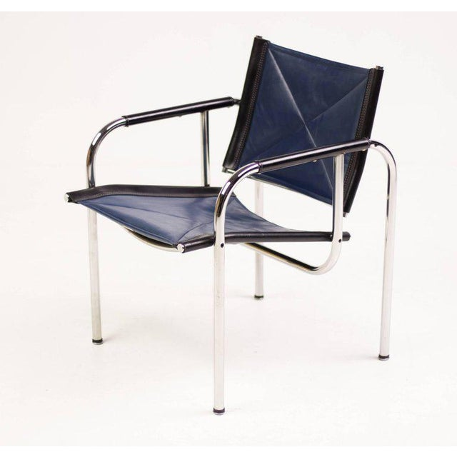 Chrome Hans Eichenberger for Strassle Blue Leather Armchairs For Sale - Image 7 of 10