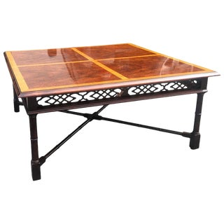 20th Century Regency Mahogany and Satinwood Square Coffee Table For Sale