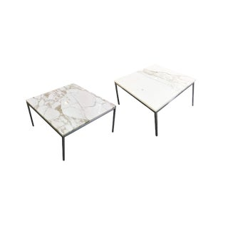 Knoll-Attributed White Marble-Top Side Table - 2 Available For Sale
