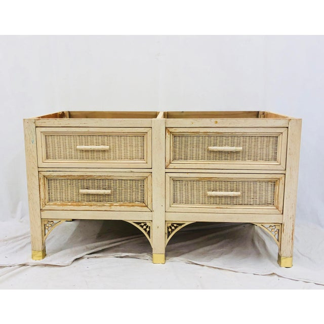 Vintage Faux Bamboo Chippendale Style Hutch For Sale - Image 10 of 13