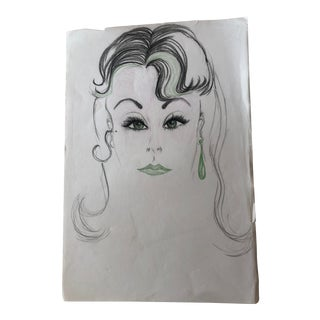 Mid-Century Green-Eyed Lady Sketch Green Lips and Earring For Sale