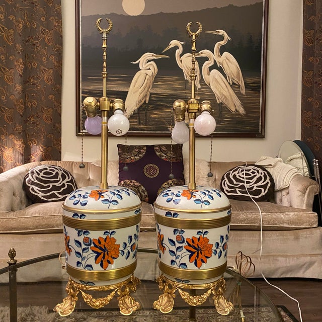 Antique Sevres Porcelain & Ormolu Marbro Lamps -a Pair For Sale - Image 13 of 13