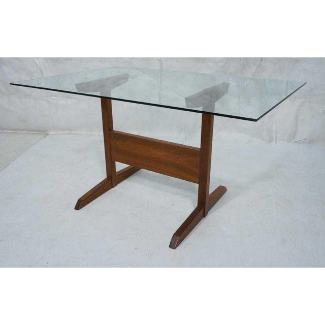 1950s Modernist Walnut Glass Dining Table For Sale - Image 5 of 5
