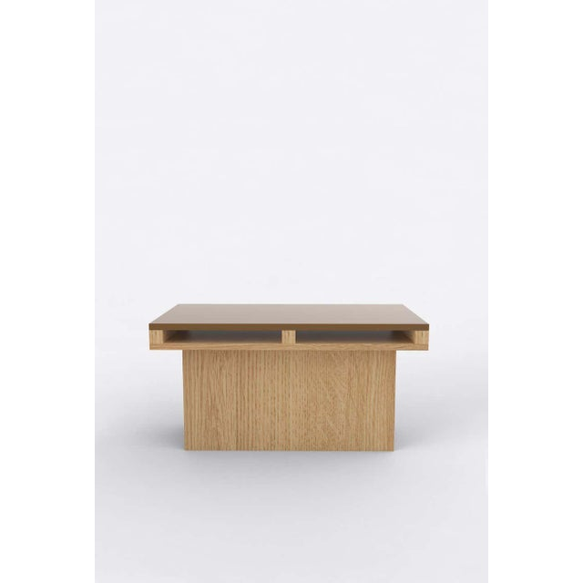 Postmodern Contemporary 102 End Table in Oak and Brown by Orphan Work For Sale - Image 3 of 3