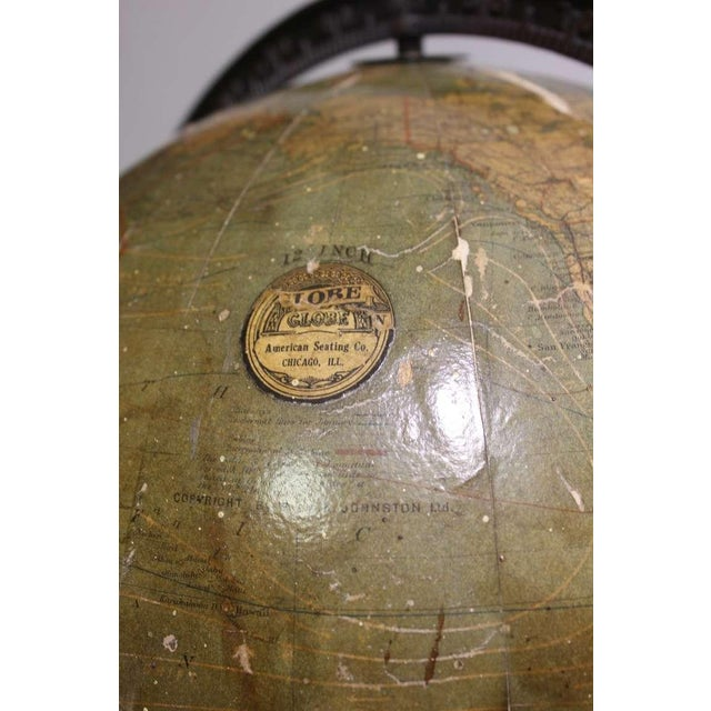American Seating Company Rare Antique Hanging World Globe by American Seating Co. For Sale - Image 4 of 4
