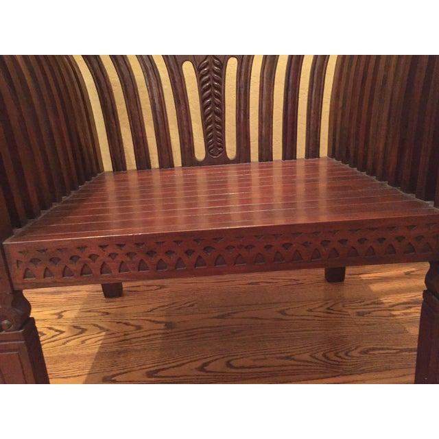 Hand-Carved Mahogany Wood Chair & Ottoman - A Pair - Image 10 of 10