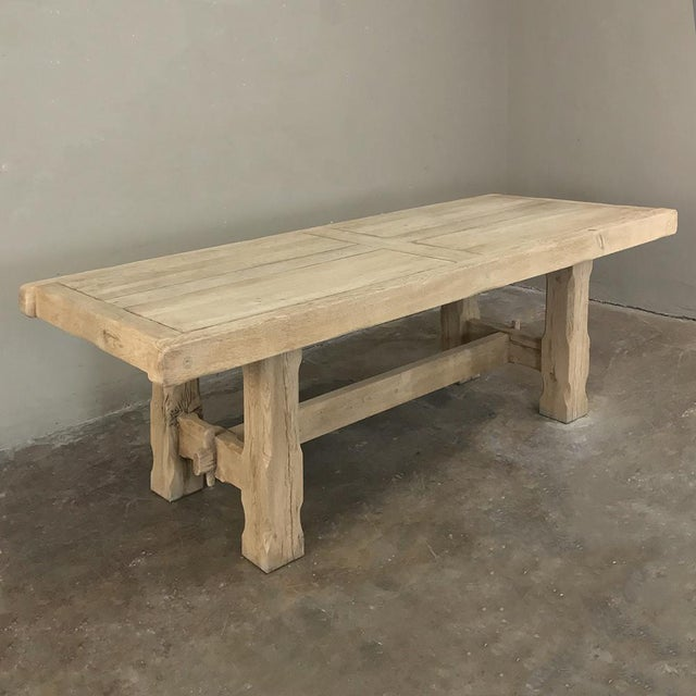 Antique Grand Rustic Stripped Oak Dining Table For Sale - Image 4 of 11