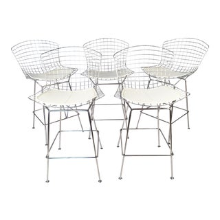 Harry Bertoia for Knoll Chrome Wire Bar Stool - Set of 5 For Sale