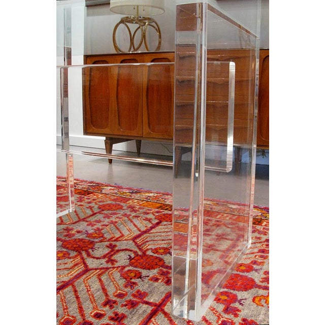 1970's Lucite Executive Desk / Dining Table For Sale - Image 10 of 13